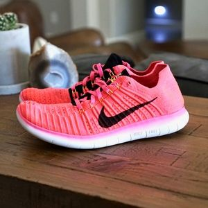 Nike Free RN Flyknit Running Shoes Pink 10